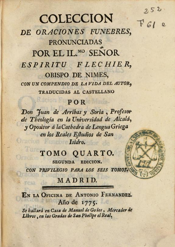Coleccion de oraciones funebres pronunciadas por ... Espiritu Flechier ... /