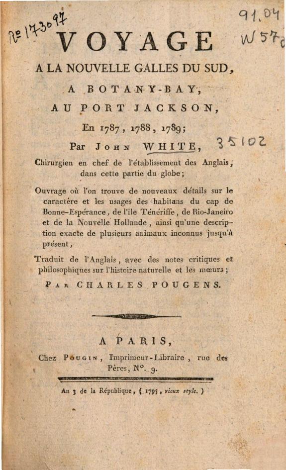 Voyage à la Nouvelle Galles du Sud :a Botany-Bay, au Port Jackson en 1787, 1788, 1789 /