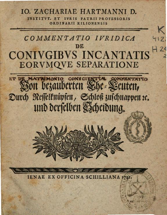 Io. Zachariae Hartmanni ... Commentatio iuridica de coniugibus incantatis eorumque separatione ...