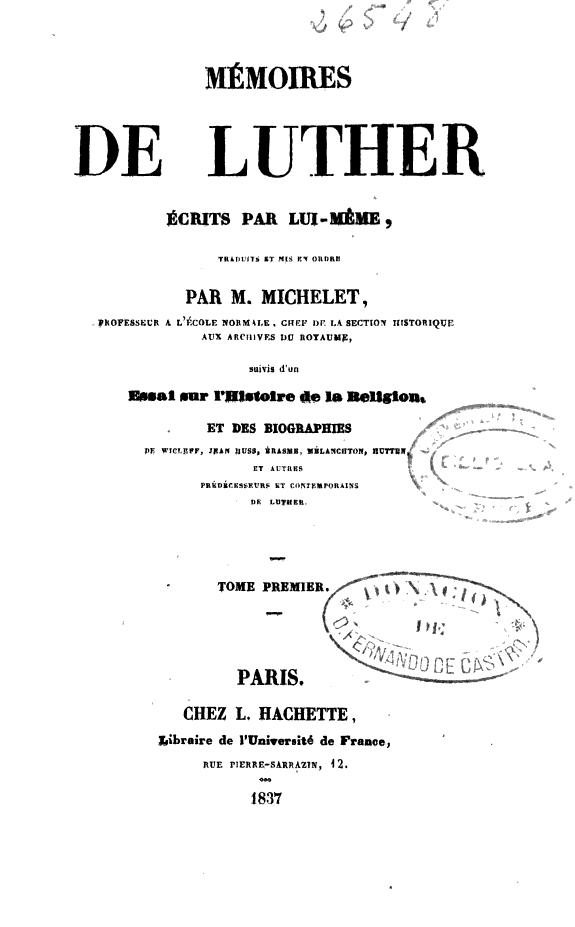 Mémoires de Luther /
