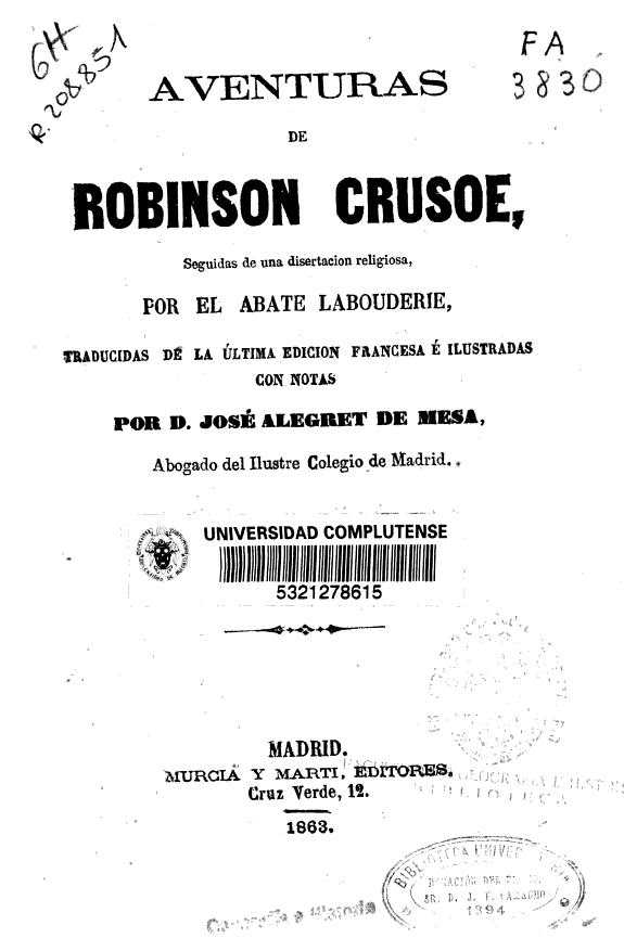 Aventuras de Robinsón Crusoe /