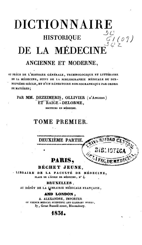 Dictionnaire historique de la médecine ancienne et moderne... /