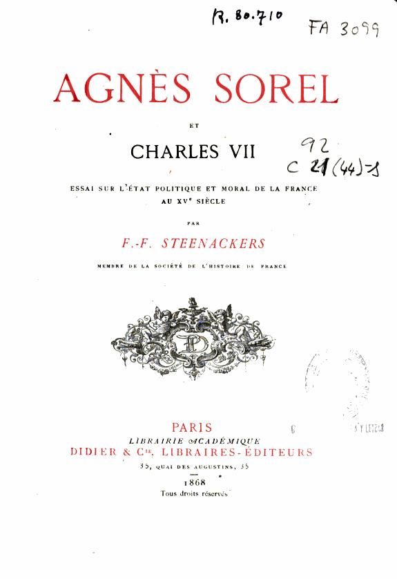 Agnès Sorel et Charles VII :essai sur l