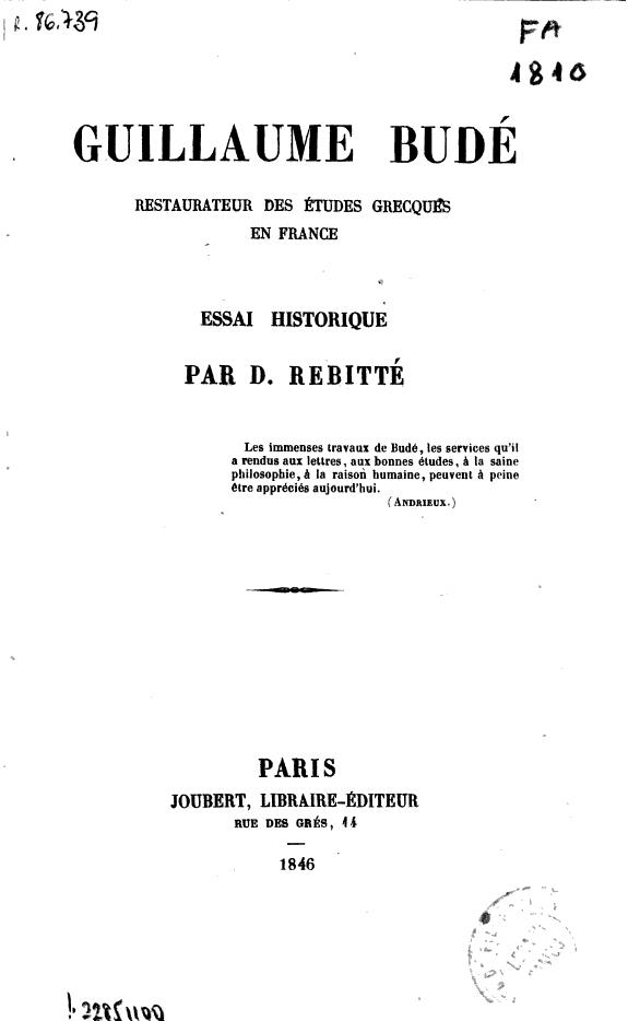 Guillaume Budé... [y otras obras]
