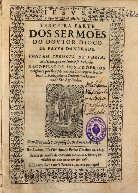 Terceira parte dos sermo?s do doutor Diogo de Payva D