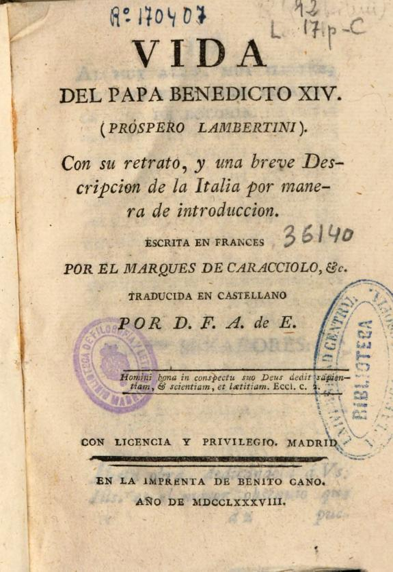 Vida del Papa Benedicto XIV (Próspero Lambertini) :con su retrato ... /