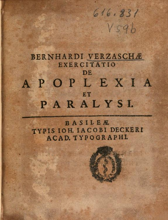 Bernhardi Verzaschae Exercitatio de apoplexia et paralysi.