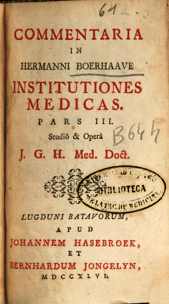 Commentaria in Hermanni Boerhaave Institutiones medicas :pars III /