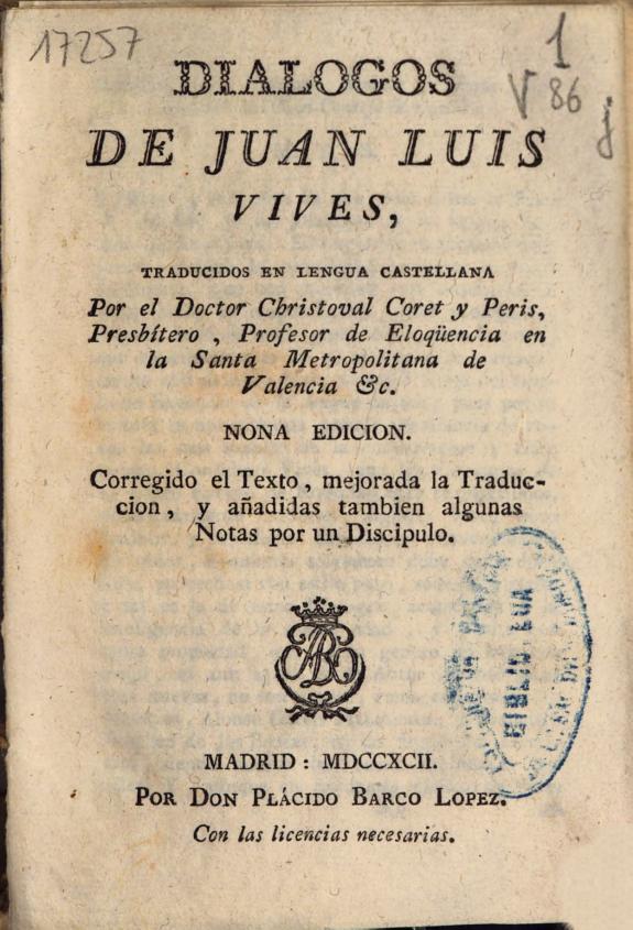 Dialogos de Juan Luis Vives /