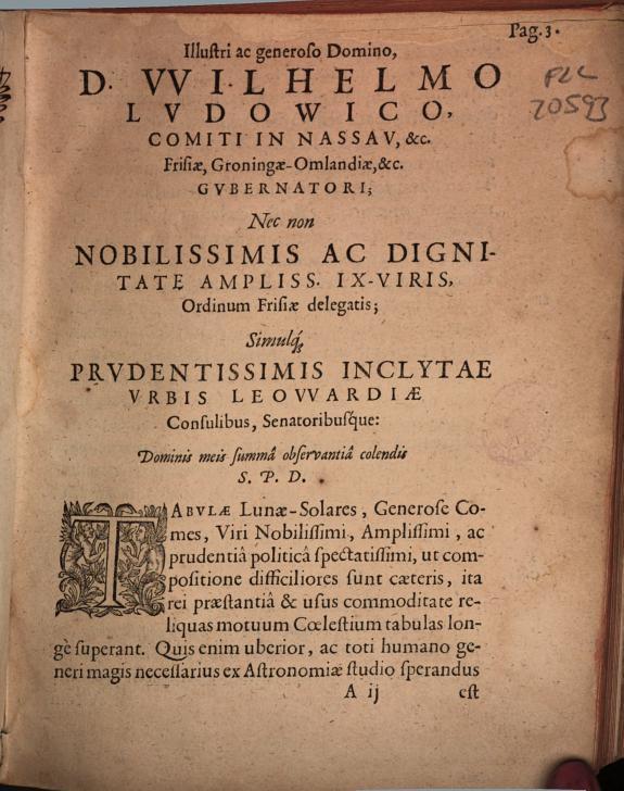 Tabulae frisicae lunae-solares quadruplices :è fontibus Cl. Ptolemaei, Regis Alfonsi, Nic. Copernici, & Tychonis Brahe, recens constructae /
