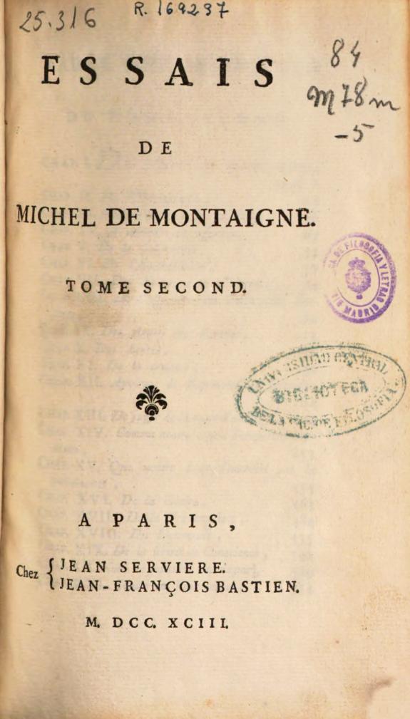 Essais de Michel de Montaigne :tome second.