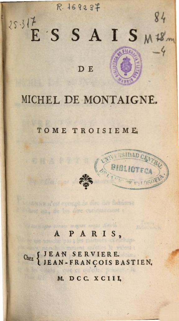 Essais de Michel de Montaigne :tome troisieme.