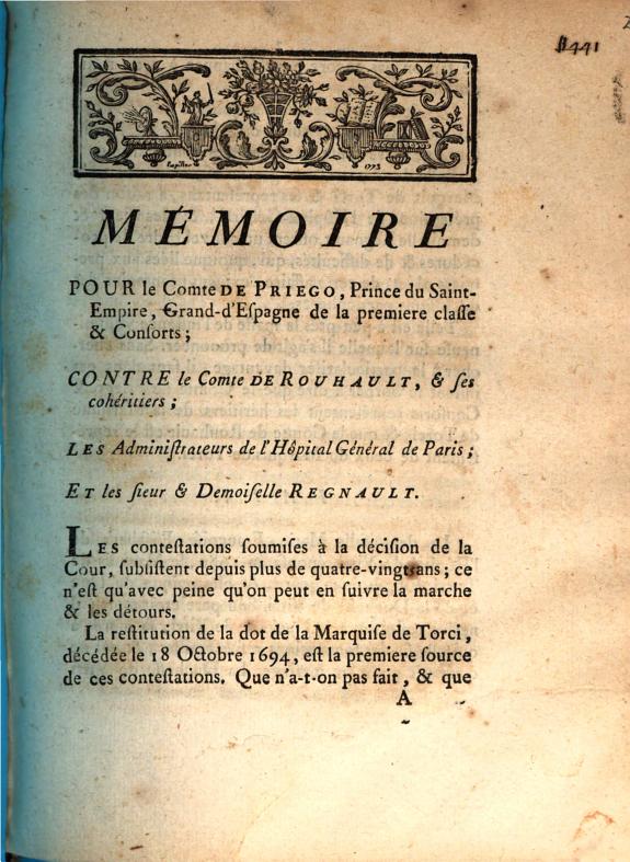 Mémoire pour le Comte de Priego ... & Consorts; contre le Comte de Rouhault ... les Administrateurs de l