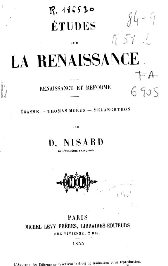 Études sur la Renaissance :renaissance et réforme : Érasme, Thomas Morus, Mélanchthon /