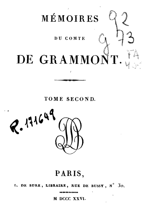 Mémoires du comte de Grammont.