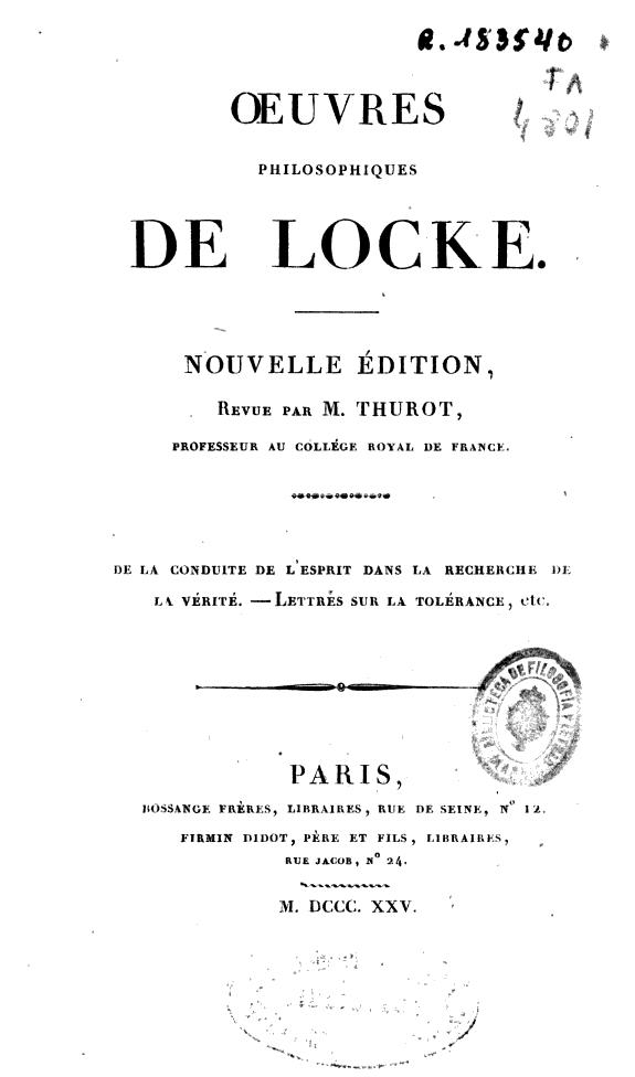 Oeuvres philosophiques de Locke.