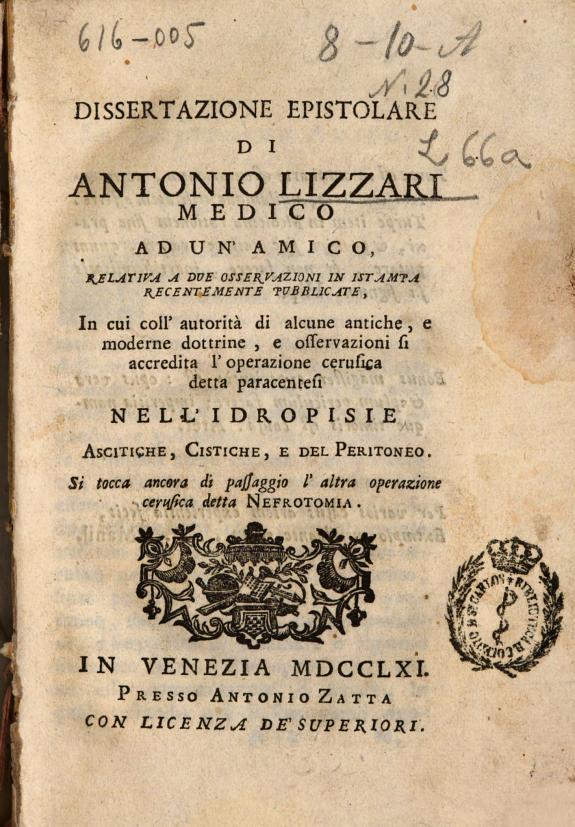 Dissertazione epistolare di Antonio Lizzari medico ad un