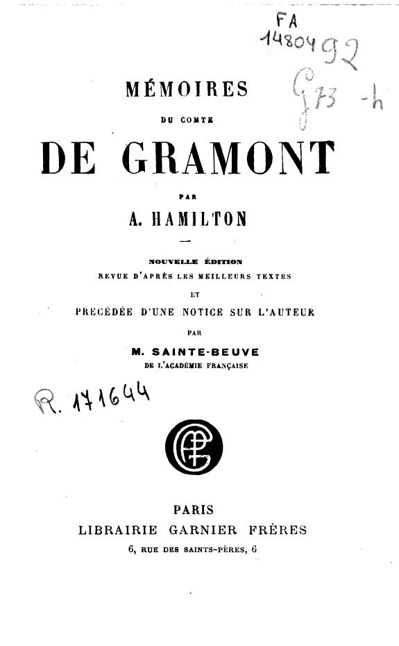 Mémoires du Comte de Gramont /