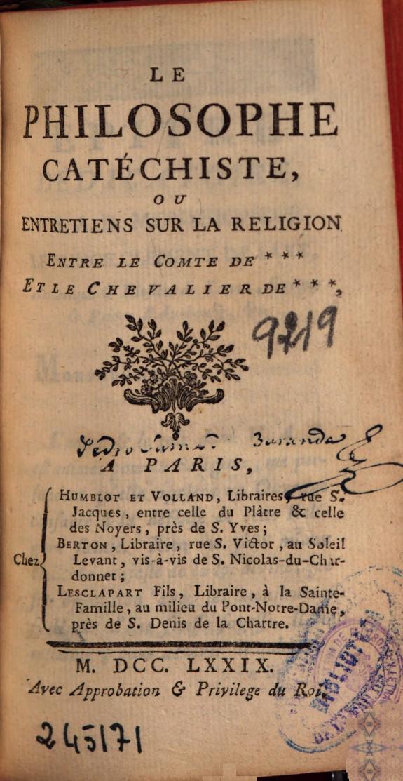 Le philosophe catéchiste ou Entretiens sur la religion entre le comte de *** et le chevalier de ***