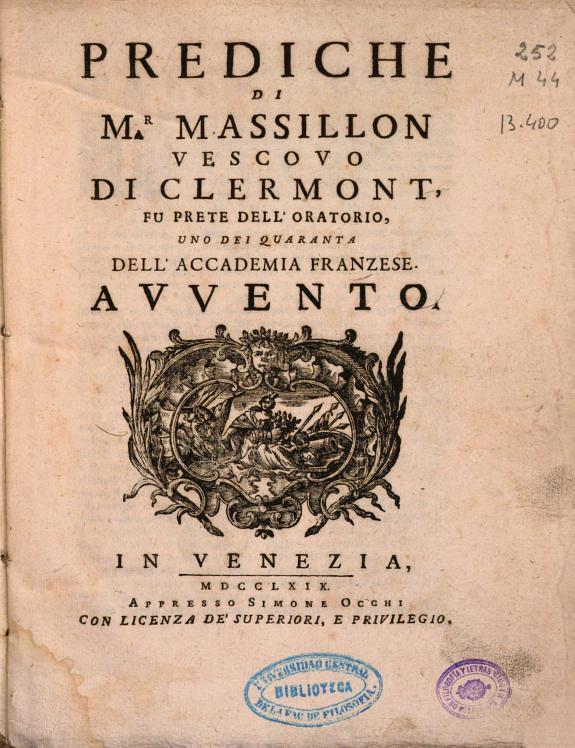 Prediche di M.r Massillon Vescovo di Clermont ... :Avvento.