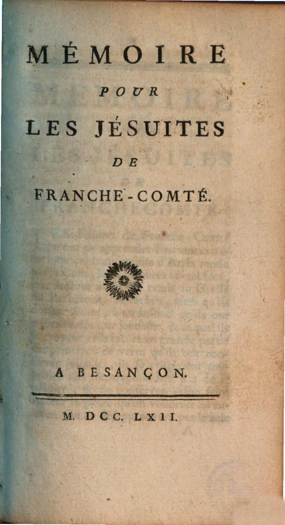 Mémoire pour les Jésuites de Franche-Comté