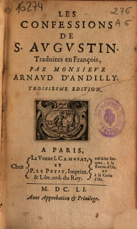 Les confessions de S. Augustin /