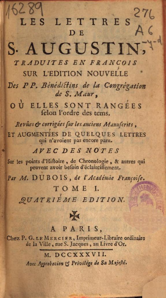 Les lettres de S. Augustin /