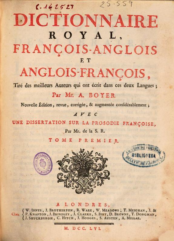 Dictionnaire royal, françois-anglois et anglois-françois ... /