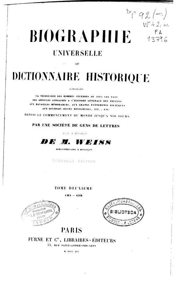 Biographie universelle ou Dictionnaire historique /
