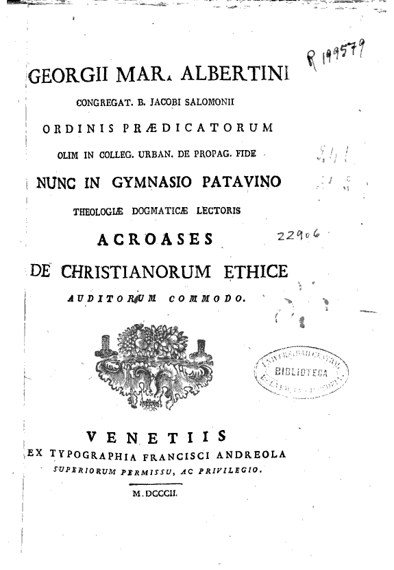 Georgii Mar. Albertini ... Acroases de christianorum ethice auditorum commodo.
