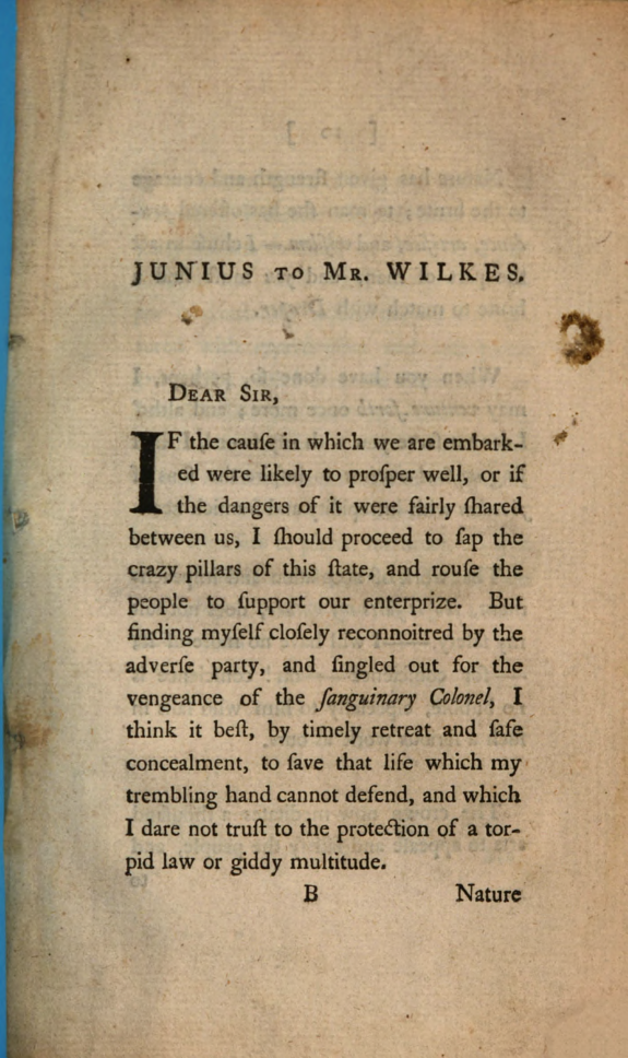 Interesting letters selected from the political and patriotic correspondence of Messrs. Wilkes, Horn, Beckford, and Junius :containing a number of curious anecdotes, which, in these critical times, ought not to be concealed from the publick. nev