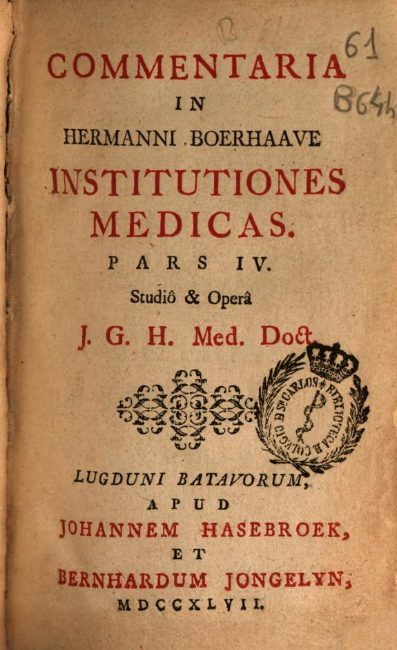 Commentaria in Hermanni Boerhaave Institutiones medicas :pars IV /