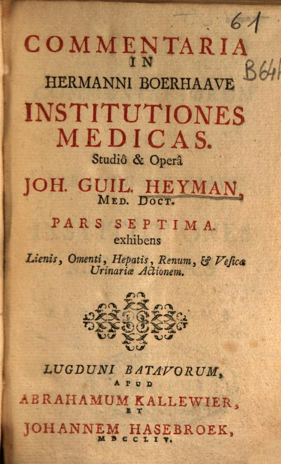 Commentaria in Hermanni Boerhaave Institutiones medicas /