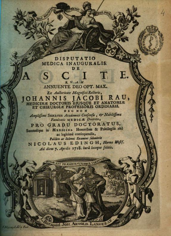 Dissertatio medica inauguralis. De ascite ... ex auctoritate magnifici rectoris Johannis Jacobi Rau ... ; pro gradu doctoratus ... Nicolaus Edingh ...