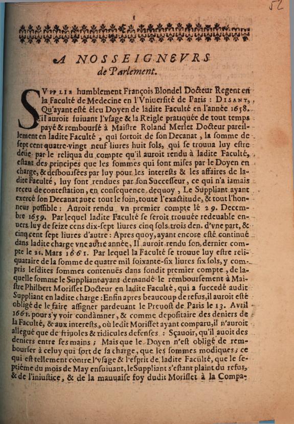 A nos seigneurs de Parlement :supplie humblement François Blondel ... qu