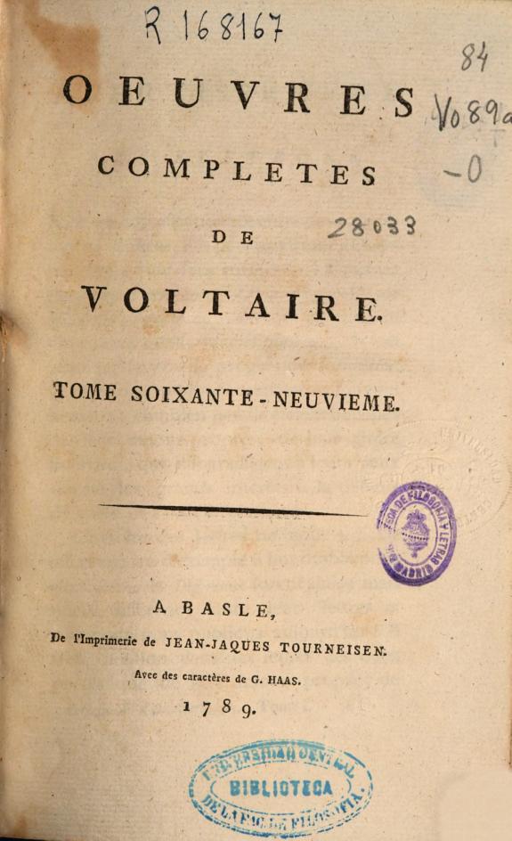 Oeuvres completes de Voltaire. Tome soixante-neuvieme [Lettres de M. Voltaire et de M. D