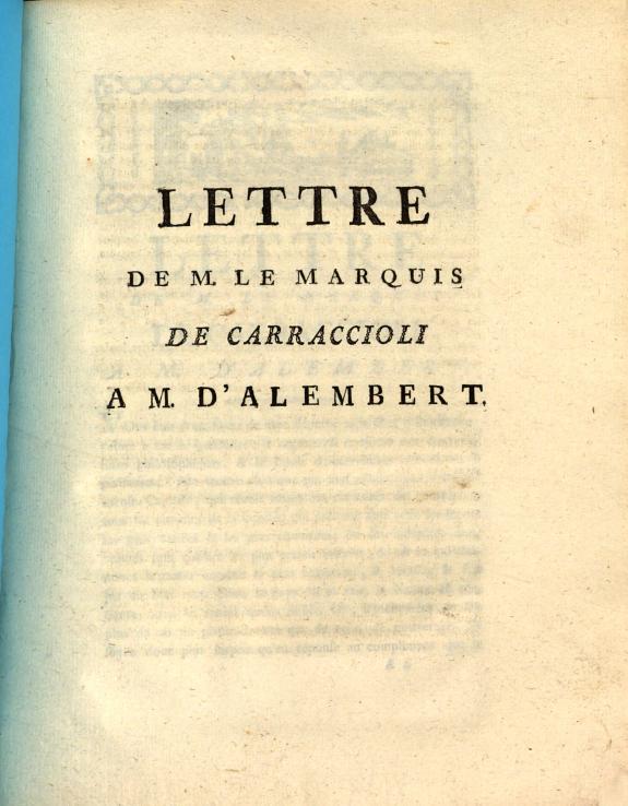 Lettre de M. le Marquis de Carraccioli a M. d