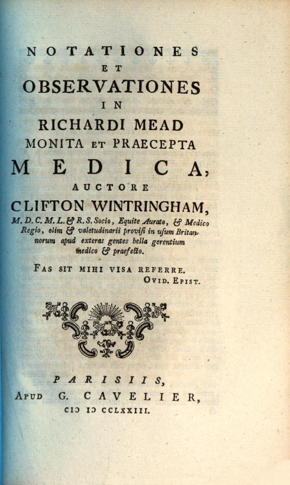 Notationes et observationes in Richardi Mead monita et praecepta medica /