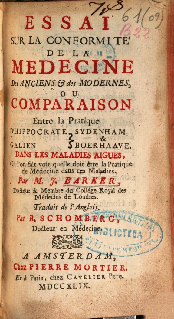 Essai sur la conformité de la medecine des anciens [et] des modernes, ou Comparaison entre la pratique d