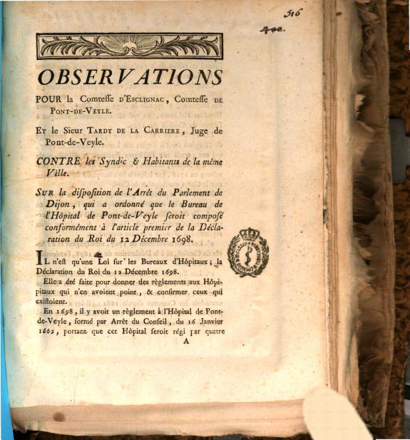 Observations pour la comtesse d