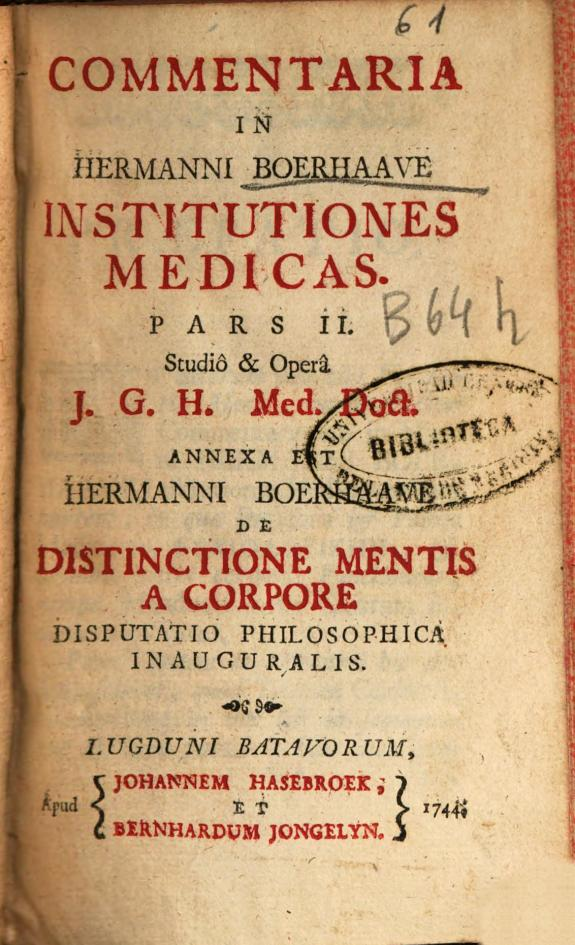 Commentaria in Hermanni Boerhaave Institutiones medicas :pars II /