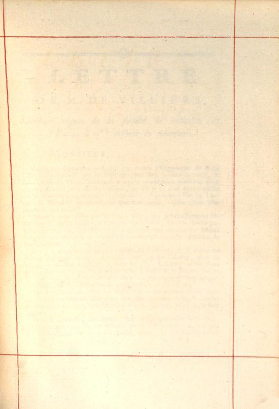 Lettre de M. de Villiers, docteur-régent, de la faculté de Médecine de Paris, à M** docteur en médecine, sur l