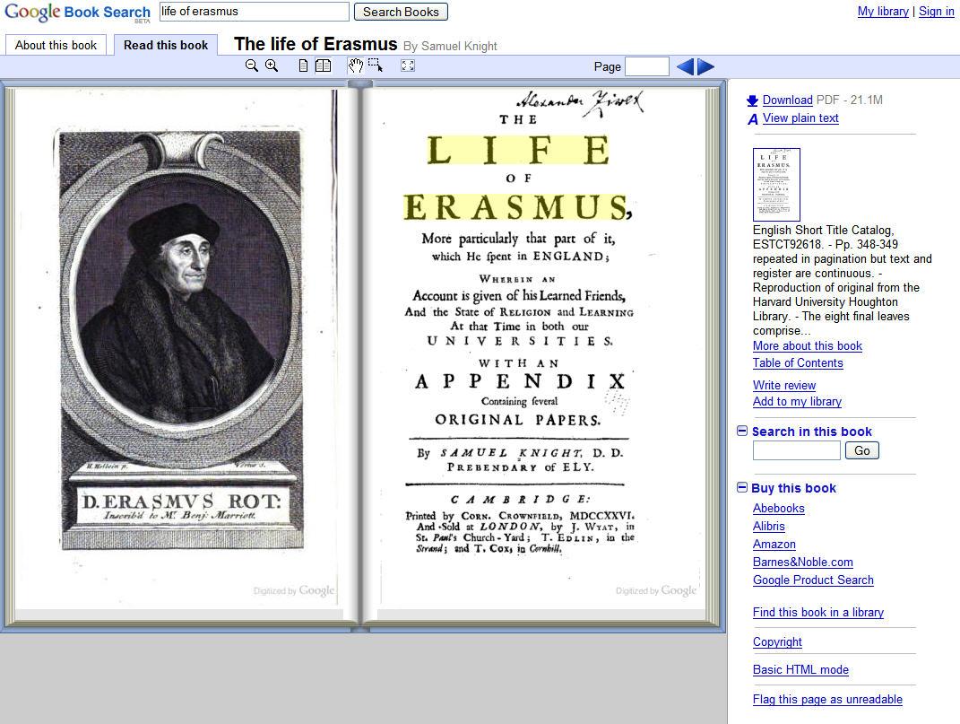 google books life of erasmus