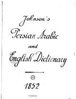 A Dictionary  Persian  Arabic and English PDF