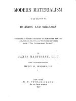 Modern Materialism in Its Relations to Religion and Theology PDF