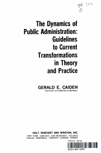 The Dynamics of Public Administration