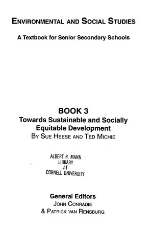 Environmental and Social Studies  Towards sustainability and socially equitable development PDF