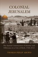 Colonial Jerusalem PDF