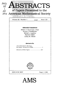 Abstracts of Papers Presented to the American Mathematical Society PDF
