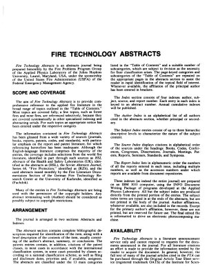 Fire Technology Abstracts PDF